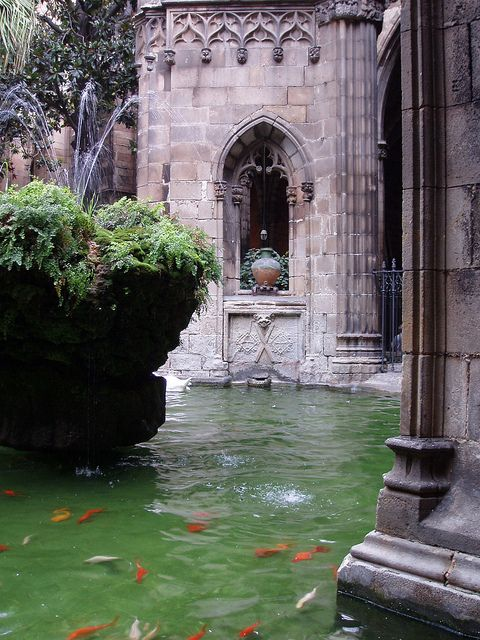 Cathedral Gardens, Bare Gothic, Barcelona, Spain