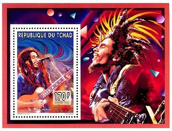 *Bob Marley* Chad, 170 CFA Franc, 1996. More fantastic post stamps, pictures and videos of *Bob Marley* on: https://de.pinterest.com/ReggaeHeart/
