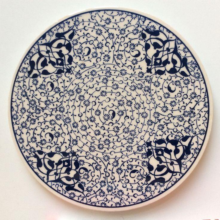 White and Blue Floral Ceramic Trivet
