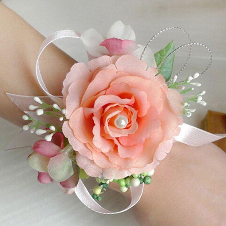 Venda quente!!! Buquê de Flor de Pulso De noiva Meninas Dama De Honra Irmãs Mão Flores Artificiais Flores de Seda Do Casamento Prom Pulseira(China (Mainland))