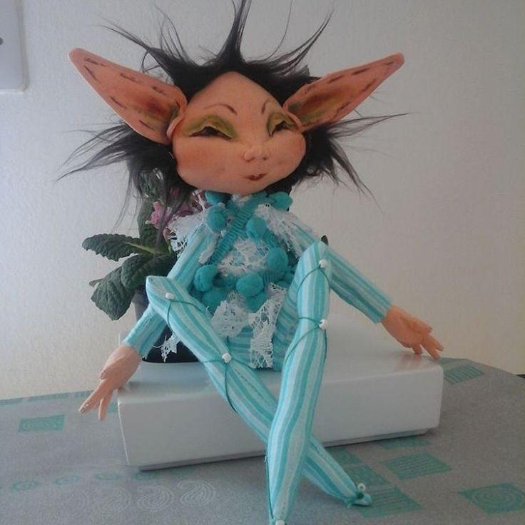 #pixie #clothdoll #artdoll #handmade #handcrafted #aqua