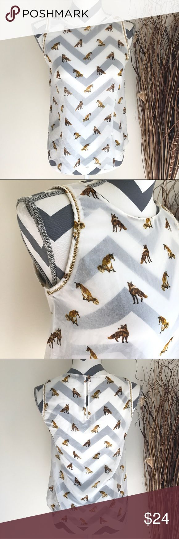 "Zara Trafaluc Fox Print Blouse Great conditions. Chain detail in arm hem. Back keyhole. 17"" Chest, 13"" length armpit down Zara Tops Blouses"