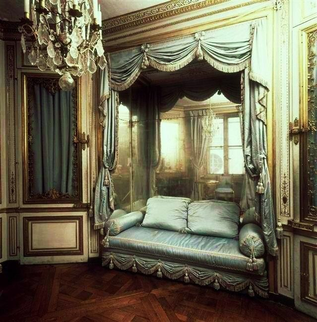 Marie Antoinette's Cabinet de la Méridienne, as it was in 1781. The particular shape of this boudoir, with its cut sides, made it possible for the queen's domestic servants to pass from the large bedchamber to the other chambers without disturbing the queen. In 1781, after Marie Antoinette gave birth to an heir, the room was decorated with woodwork. The dolphin motif evokes children, while the roses, Hapsburg eagle, and the peacock, as a symbol of the goddess Juno, are allusions to the…