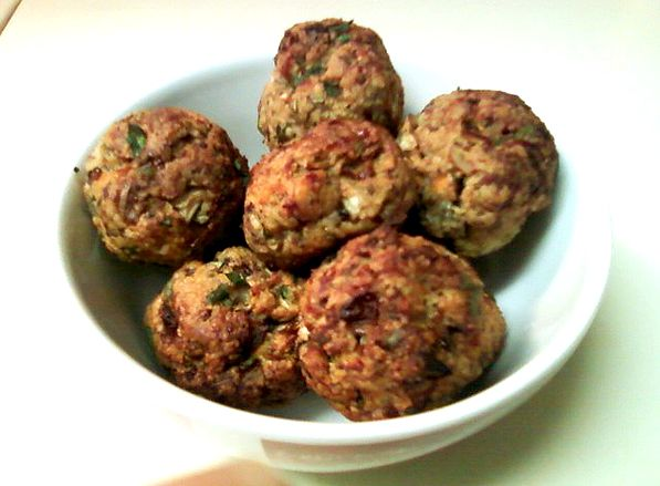 turkey meatballs: ground turkey, bread crumbs, diced onions, minced garlic, any combo of spices (I used cajun, chili, salt, pepper, paprika) and an egg. Roll into balls (with your hands-ewww I know) and cook for 20 mins or so @375 degrees. Yum!