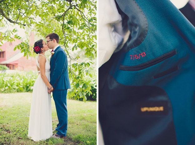 Customize the groom's suit jacket with a hidden splash of color.   35 Incredibly Creative Ways To Add Color To Your Wedding