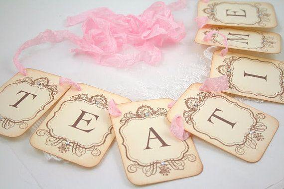 Tea Time Banner Tea Party Garland Sign Vintage Inspired Bridal Shower Decoration