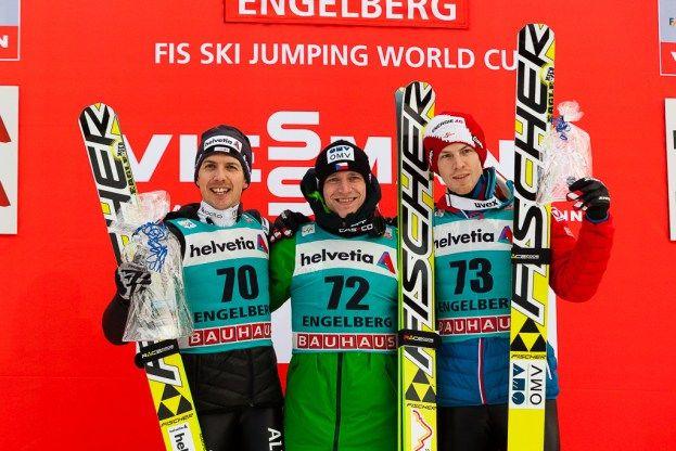Simon Ammann, Roman Koudelka, Michael Hayboeck  FIS Skispringen Weltcup   Engelberg / Schweiz   Fotograf Kassel http://blog.ks-fotografie.net/pressefotografie/weltcup-skispringen-engelberg-schweiz-2014-pressebildarchiv/