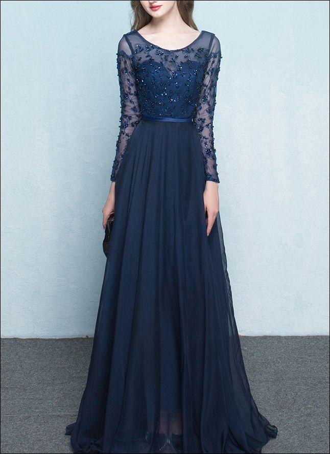 Dunkelblaues Abendkleid mit langen Ärmeln | Ballkleider