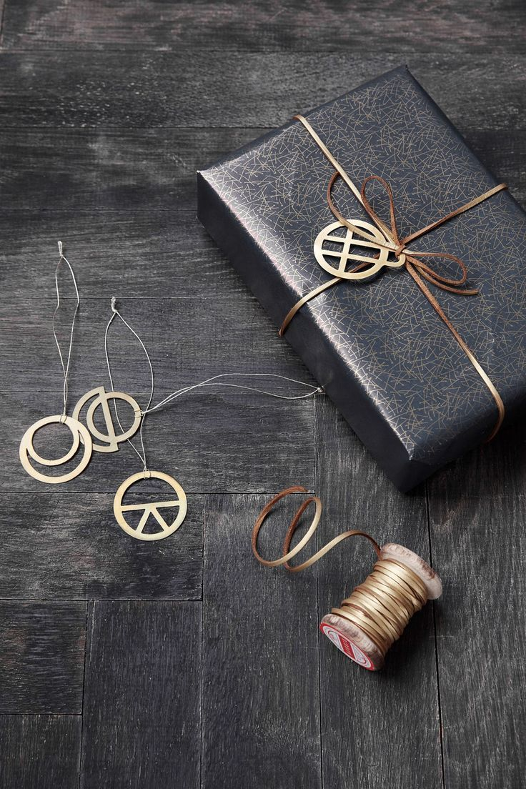 Gold leather string gift wrap.