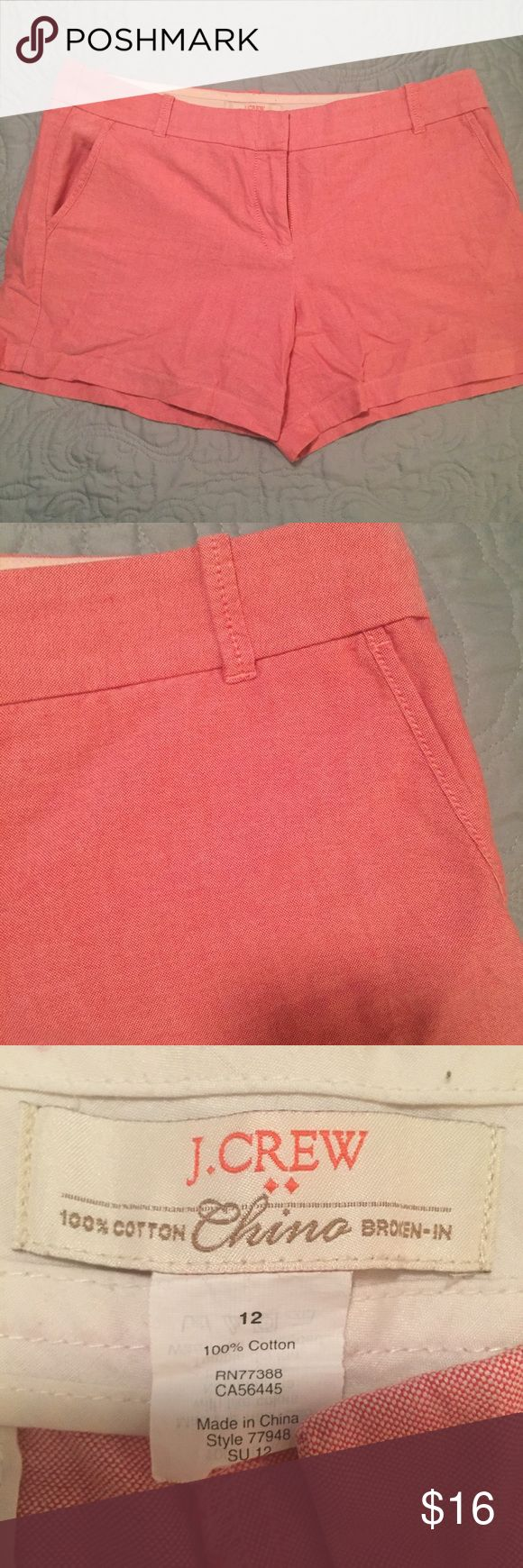 """*FINAL PRICE* J. Crew Red Broken-in Chino Shorts Broken-in chino shorts from J. Crew Factory. Size 12 with a 5"""" inseam. Side and back pockets. Great condition. See pictures for exact color.  •FINAL PRICE means NO offers accepted •no trades •ask all questions before buying •unfair ratings from buyers are reported & buyer will be blocked - I don't misrepresent my products; what you see is exactly what you get & my prices are way more than fair. Please be kind as I always strive to be kind to…"""