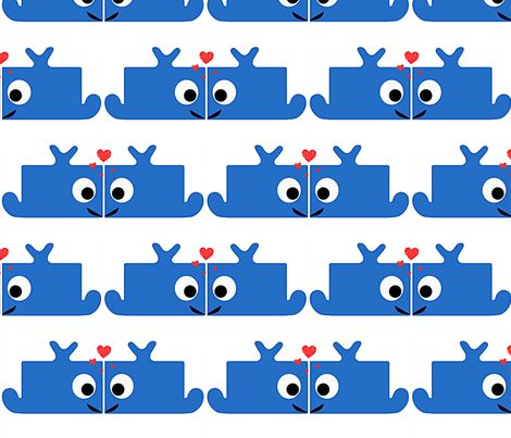 Whales in love fabric by minneaa on Spoonflower - custom fabric