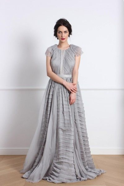 Shiver dress Silk chiffon gown Silk dress, transparent back, hand pleated sleeves, intentionally unfinished trims, train, exposed zipper on back, silk lining Fabric 1:100% silk Fabric 2: 100% silk  #parlorstudio