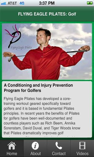 """Flying Eagle Pilates: Golf """"Warm Up at the Tee"""" is a quick and easy way to loosen up the body prior to play.  Important elements such as flexibility, strength, stamina, control, and balance are addressed in the warm up. Our 6 minute """"Warm Up at the Tee"""" w"""