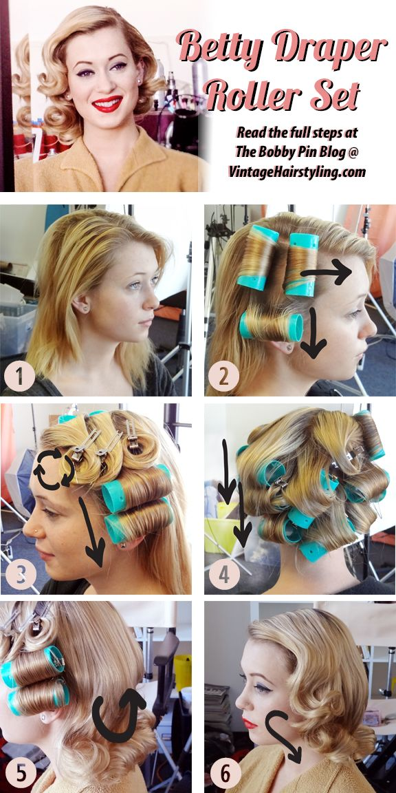 Betty Draper Vintage Hairstyle Directions Source: http://www.vintagehairstyling.com/bobbypinblog/2015/02/betty-draper-beauty.html