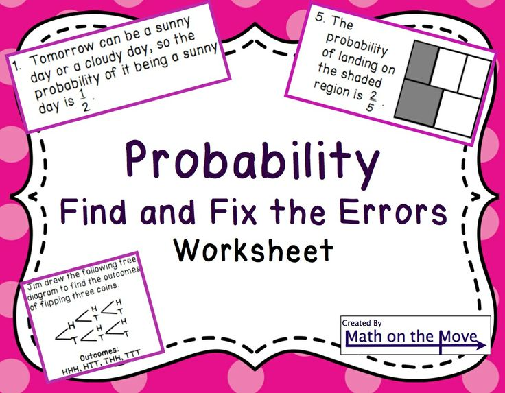 probability find and fix the errors worksheet 7 sp 5 and 7 sp 6 middle school math. Black Bedroom Furniture Sets. Home Design Ideas