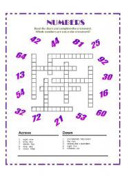 English worksheet: Numbers Crossword