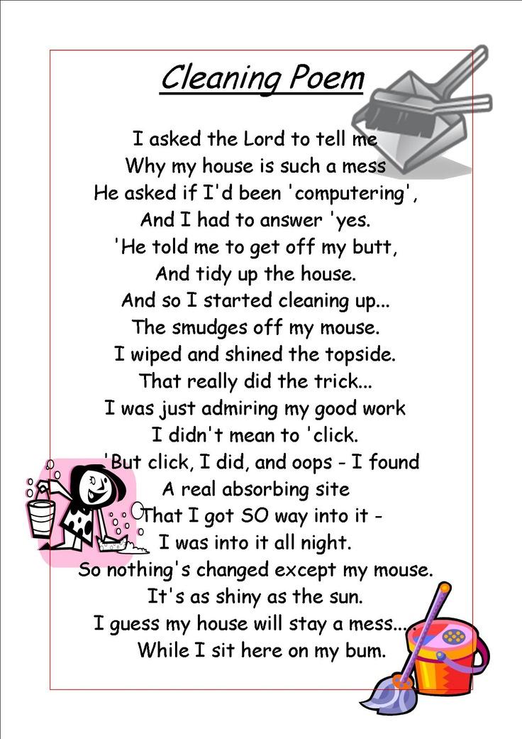 Cleaning Poem | cleaning poem | Pinterest | Cleaning ...