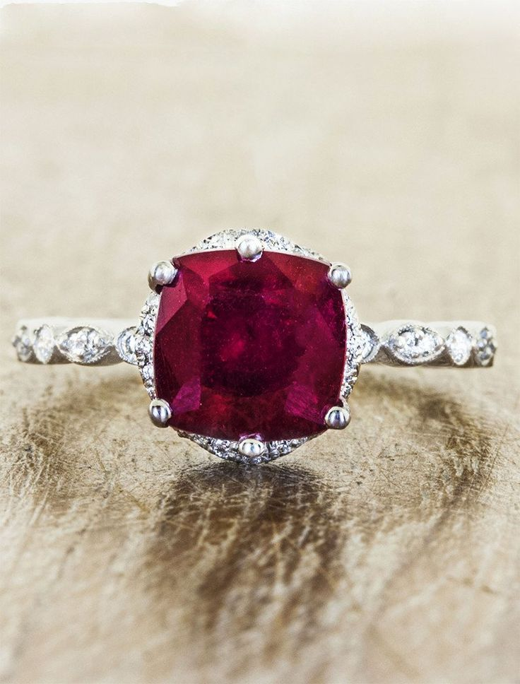 Cushion cut 3.0ct cushion cut ruby engagement ring with vintage-inspired milgrain detail. by Ken & Dana Design.