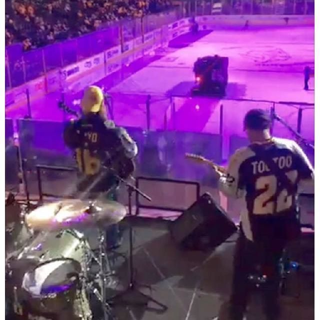 cwbyall and the #BestBandEver rockin it today at the Nashville Predators game!!