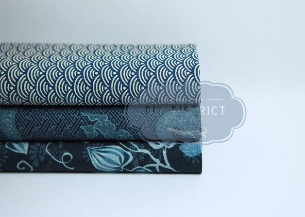Tissu Japonais coupons.  Coupons tissus Japonais en coton imprimé Seigaiha, dragons et floral .