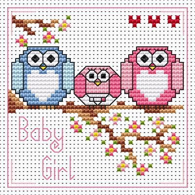 The Twitts New Baby Girl card cross stitch kit kit by Fat Cat Cross Stitch. Design 8.4cm x 8.4cm 14 count white Aida The kit contains fabric, stranded Anchor embroidery threads, needle, easy to follow instructions and chart, card and envelope. A brand new kit will be sent directly to you by Fat Cat Cross Stitch - usually within 2-4 working days © Fat Cat Cross Stitch