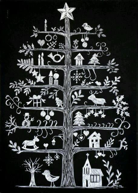 Kerstboom in krijt.