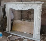 Classic French Design Marble Fireplace Mantel and Surround features Solid Block White Marble #4280
