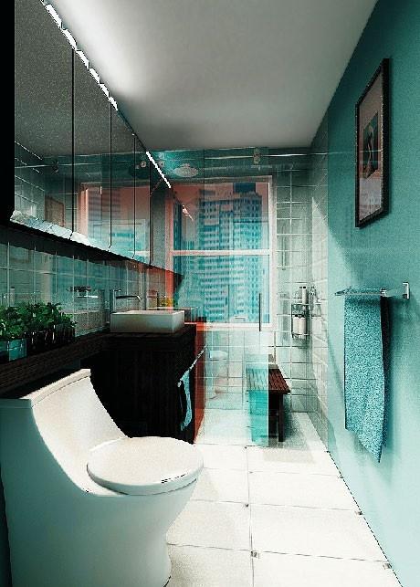 Het gebruik van de vele spiegels laten de ruimte groter ogen dan dat hij daadwerkelijk is. Leuk om in de badkamer zoveel gebruik te maken van kleur. Misstaat zeker niet!