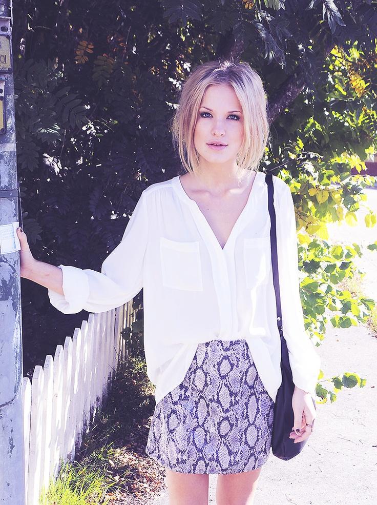 loose white blouse & python print