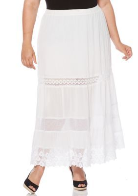 Rafaella Women's Plus Size Broomstick Skirt With Lace - White - 1X