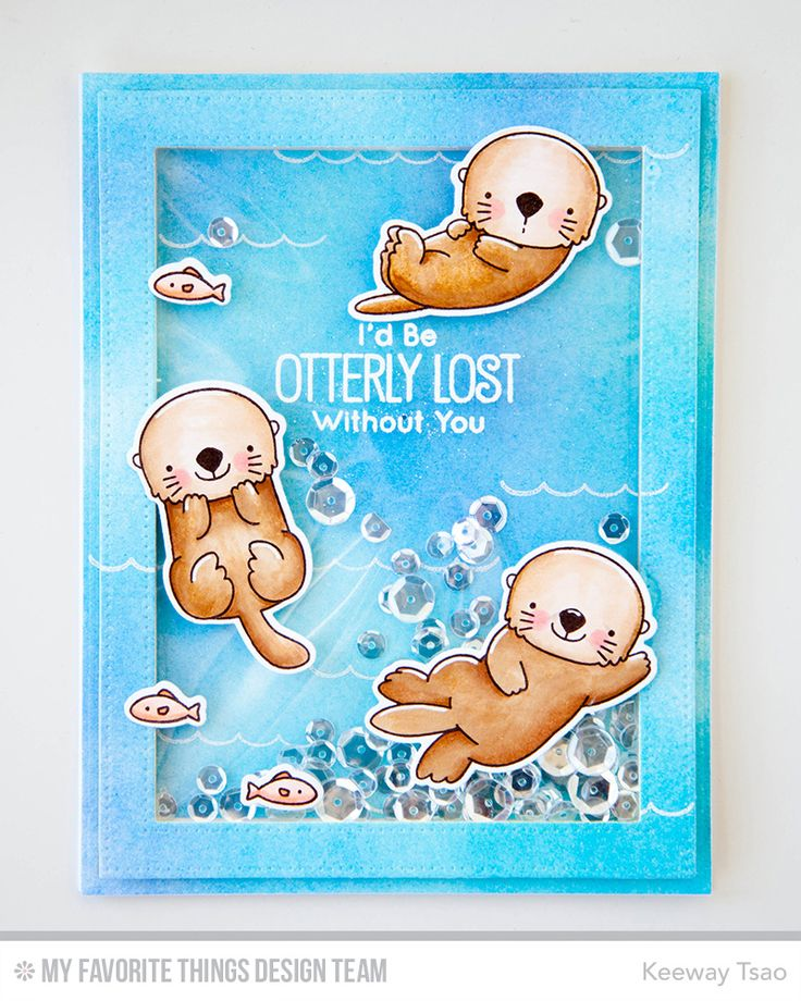 Otterly Love You Stamp Set and Die-namics, Pierced Rectangle Frames Die-namics - Keeway Tsao  #mftstamps