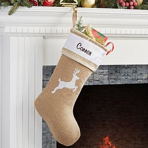 Make your home more festive this Christmas with the Personalized Burlap Christmas Stockings - Rustic Chic Burlap - Reindeer. Find the best personalized Christmas gifts at PersonalizationMall.com