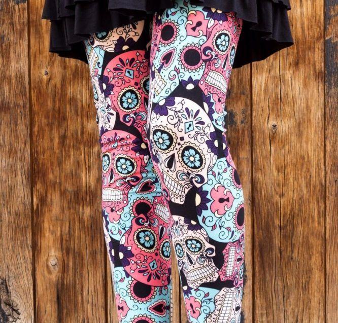 Blue Pink White SUGAR SKULL Day of the Dead Women/'s Leggings Plus Size TC 12-20