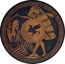 """This weapon was seen as the quintessential """"bad guys"""" weapon in ancient Greece. Athenian art frequently depicted Spartan warriors with this weapon for that reason. Greek hoplite (standing) fighting against a Persian archer. Both are using a kopis. Depiction in ancient kylix, 5th century BC, National Archaeological Museum of Athens."""