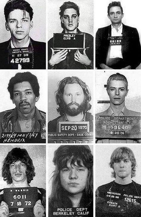 Frank Sinatra, Elvis Presley, Johnny Cash, Jimi Hendrix, Jim Morrison, David Bowie, Mick Jagger, Janis Joplin & Kurt Cobain
