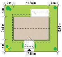 Проект дома Z72 - размеры участка