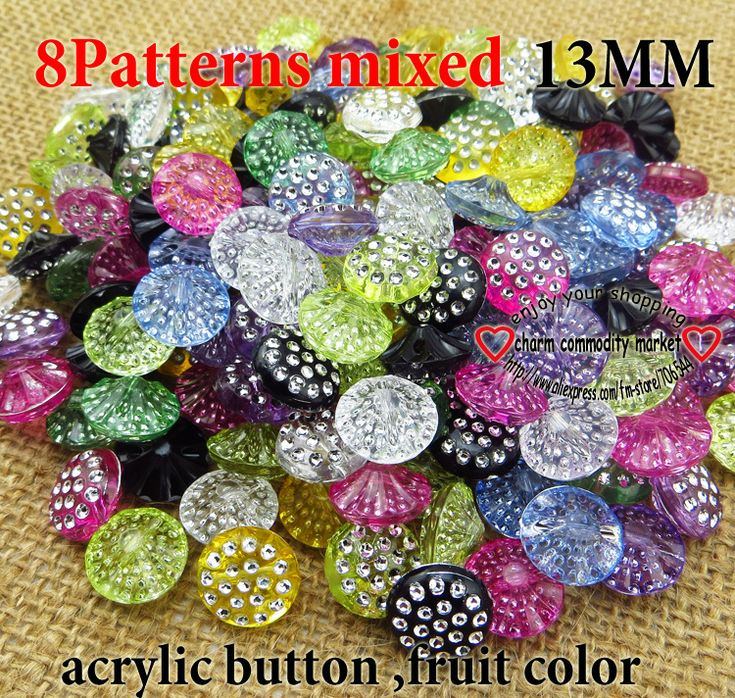 new 200PCS 8Pattern 13mm  acrylic pearl button mixed for clothes bulk sewing buttons craft fruit color  R-080 $5,22