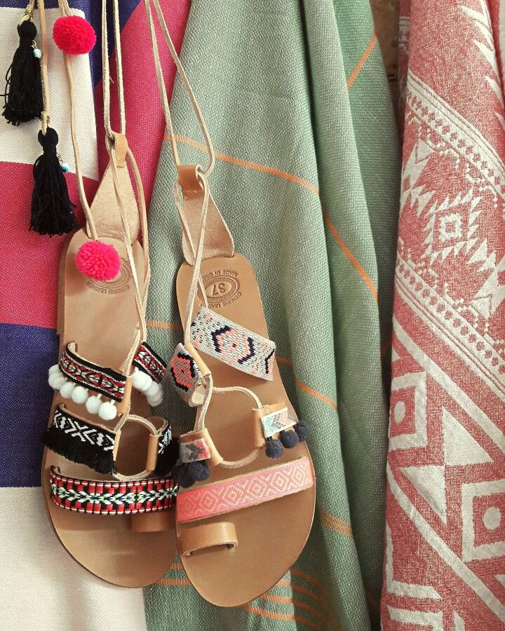 Handmade leather tie-up sandals and pestemal towel. Feel the love by Rena Xenou