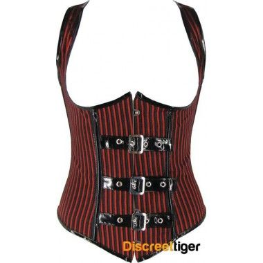 RED BLACK STRIPED UNDERBUST CORSET your trendsetting fashion choices turn out to be the real show stopper - with a sensational racer back lace up, and unique PVC buckle up front, you'll dedicate your encore to this extraordinary piece. http://www.discreettiger.com.au/corsets/underbust-corsets @discreettiger #steampunk #retro #gothiclook #redblackcorset #underbust #pvcstraps