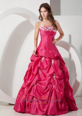 Popular Hot Pink Prom Dress Appliques A-line
