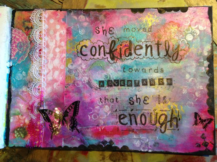 Hello soul hello mantra Kelly Rae Roberts inspired Mixed media art