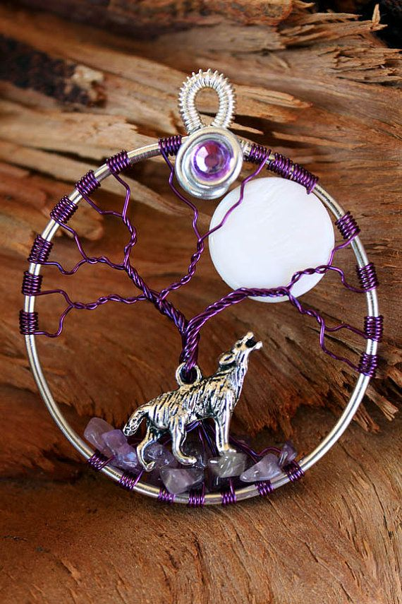 Love the rocks at the base. Tree of Life  Amethyst Wolf with Moon by GelArt on Etsy, $20.00