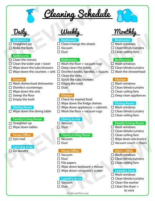 Keep Your Home Clean with a Printable Cleaning Schedule ...