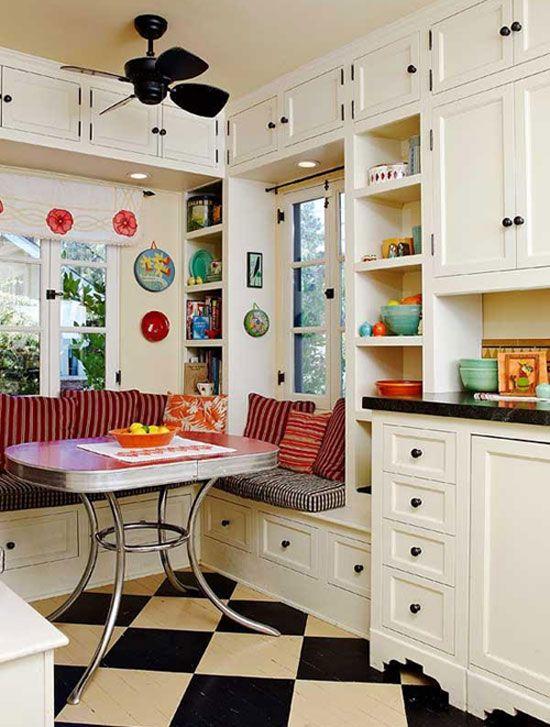 Breakfast Nooks: Retro style, black and white checkerboard tile floor