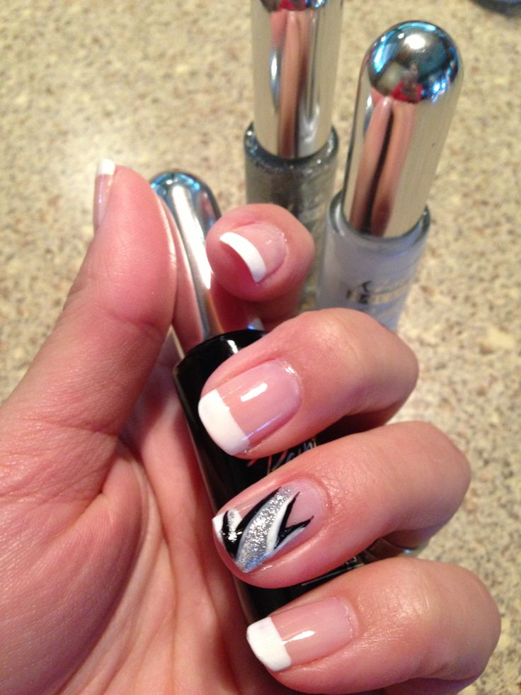 I saw a design like this on a student's nail and wanted it! So here it is. ❤ I love the 3-pack Kiss set; I use it for all my designs! Nail Art Design Classy Silver Black White French Manicure