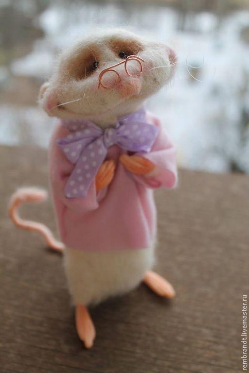 Купить Нежный - белый, белая войлочная мышка, шерсть