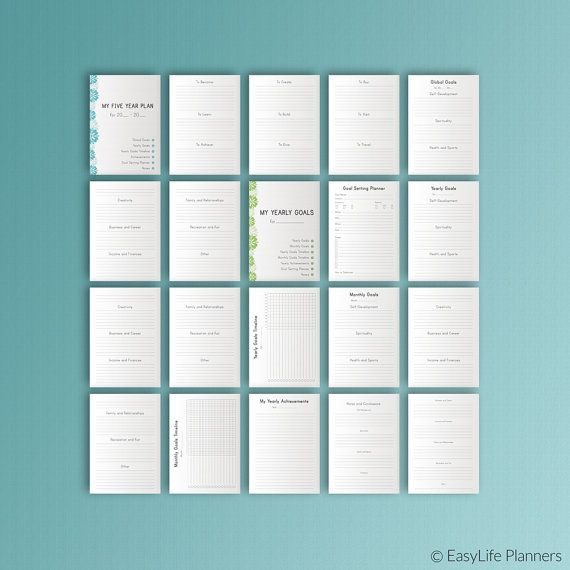 Five YEAR Plan A4 Size Printable Binder inserts Health