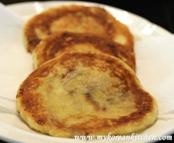 Korean pancakes...sweet oozy goodness in the middle. So easy to make from scratch, but you can get it at the Asian market in a pre-mixed box (just follow directions like you would making a cake out of the box).