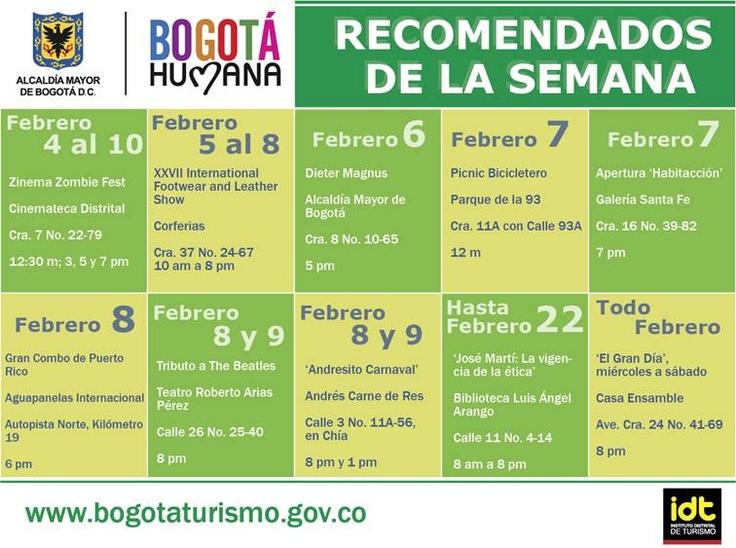 Eventos para la primera semana de Febrero en #Bogota