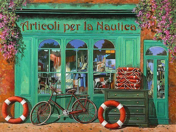 """Guido Borelli  """"La Bicicletta Rossa"""" Archival Lithograph on Paper  18"""" x 24"""""""
